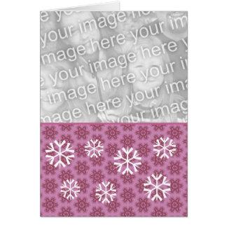 Foto rosada y blanca v2 del navidad de los copos tarjeta pequeña