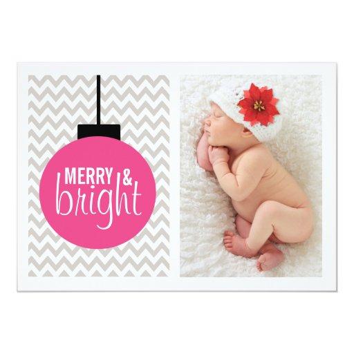 """Foto rosada y gris feliz y brillante del navidad invitación 5"""" x 7"""""""