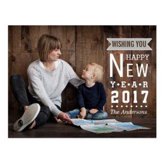 Foto rústica 2017 de la Feliz Año Nuevo del día de Postales