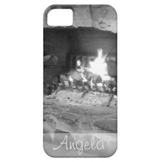 Foto rústica del fuego de registro de la chimenea iPhone 5 funda
