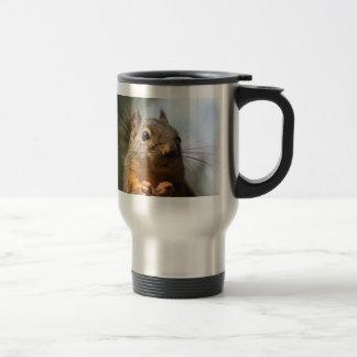 Foto sonriente del primer de la ardilla linda taza térmica