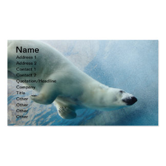 Foto subacuática de un oso polar tarjetas de visita
