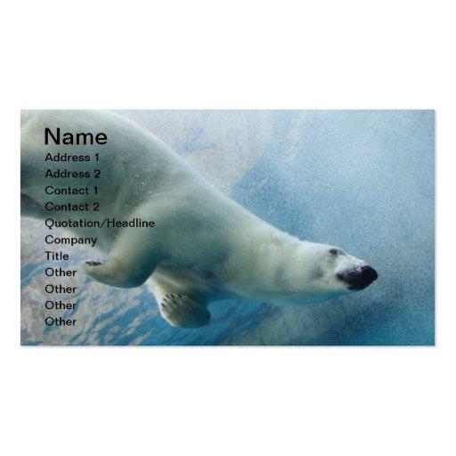Foto subacuática de un oso polar tarjeta de visita