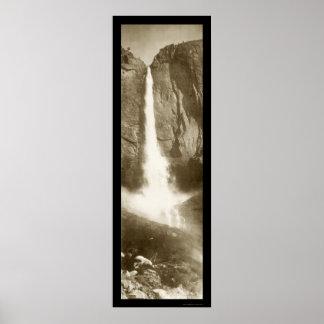Foto superior 1908 de las cataratas de Yosemite Póster