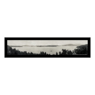 Foto superior 1912 del lago Saranac Póster