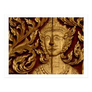 Foto tailandesa de la estatua del templo budista tarjetas postales