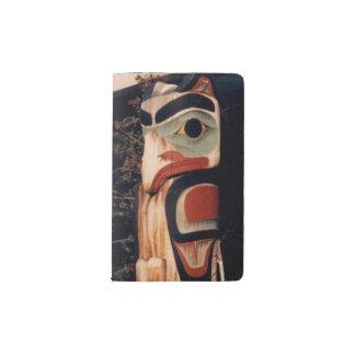Foto tallada madera del tótem de Alaska diseñada Libreta De Bolsillo Moleskine