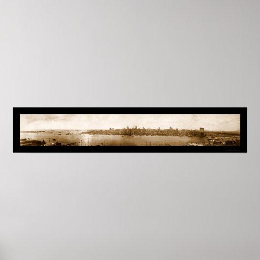 Foto temprana 1896 del puerto de Nueva York Póster
