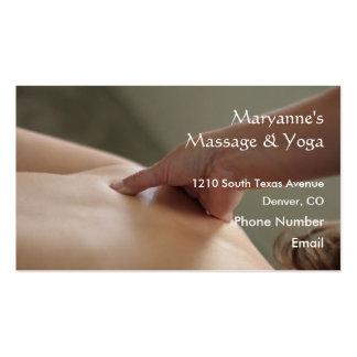 Foto trasera del masaje - pulgar tarjetas de visita
