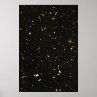 Foto ultra profunda del campo de Hubble Póster