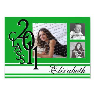 Foto verde 2011 de la graduación tri invitación 12,7 x 17,8 cm
