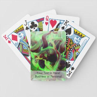Foto verde roja del anenome del mar baraja de cartas