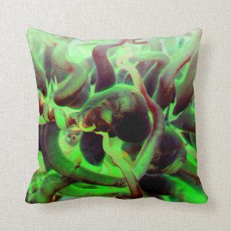 Foto verde roja del anenome del mar almohada