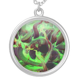 Foto verde roja del anenome del mar colgante redondo