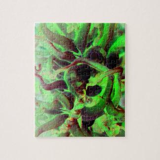 Foto verde roja del anenome del mar puzzle