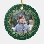 Foto verde y falsa del día de fiesta del medallón adorno navideño redondo de cerámica