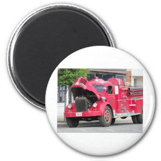 foto vieja del coche de bomberos imán redondo 5 cm
