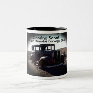 Foto vieja del coche - taza de café