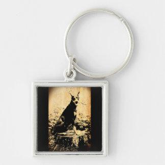 Foto vieja del vintage del Pinscher del Doberman Llavero Cuadrado Plateado