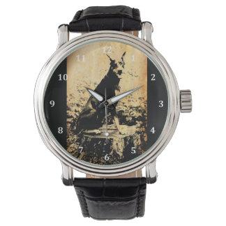 Foto vieja del vintage del Pinscher del Doberman Reloj De Mano