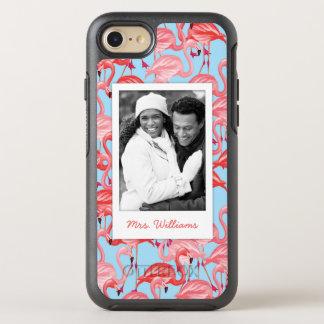 Foto y flamencos rosados brillantes del nombre en funda OtterBox symmetry para iPhone 7