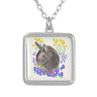 Foto y flores lindas del conejo pendiente personalizado
