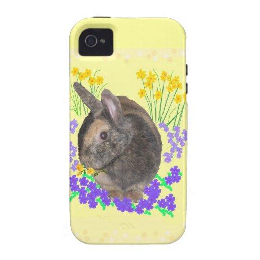 Foto y flores lindas del conejo Case-Mate iPhone 4 carcasas