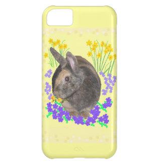 Foto y flores lindas del conejo funda para iPhone 5C
