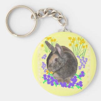 Foto y flores lindas del conejo llavero redondo tipo pin