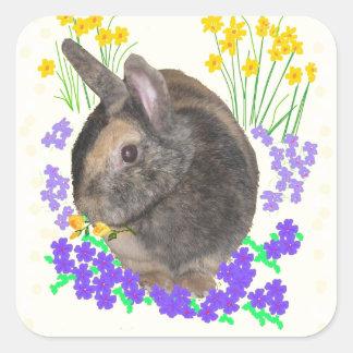 Foto y flores lindas del conejo pegatina cuadrada