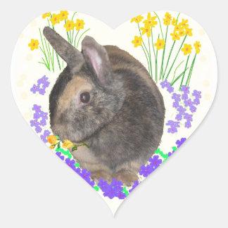 Foto y flores lindas del conejo pegatina en forma de corazón