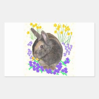 Foto y flores lindas del conejo pegatina rectangular