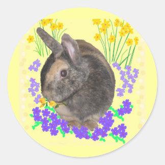 Foto y flores lindas del conejo pegatina redonda