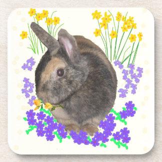 Foto y flores lindas del conejo posavaso