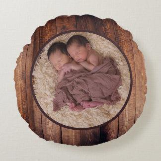Foto y nombre de familia de madera del círculo del cojín redondo