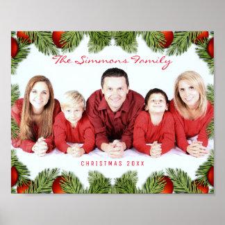 Foto y nombre de familia roja de encargo del póster