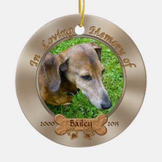 Foto y ornamento personalizado nombre del adorno navideño redondo de cerámica