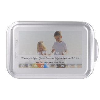 Foto y texto personalizados de la bandeja del molde para pasteles