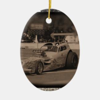 foto zazzle1.jpg de la fricción adorno navideño ovalado de cerámica