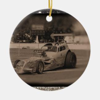 foto zazzle1.jpg de la fricción adorno navideño redondo de cerámica