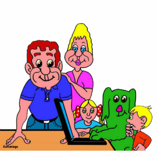 Fotoescultura family of Grin the green small dog Cutout