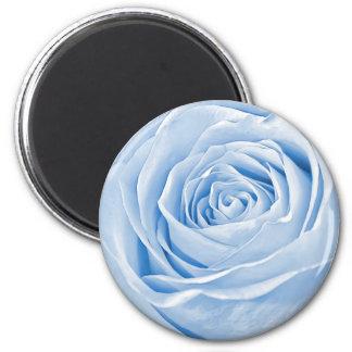 Fotografía abstracta de un color de rosa azul imán redondo 5 cm