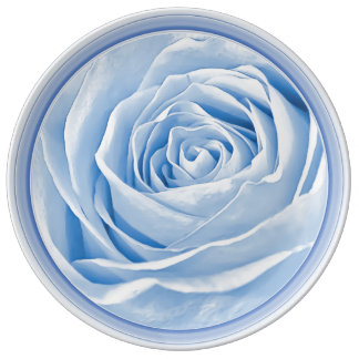 Fotografía abstracta de un color de rosa azul plato de cerámica