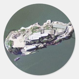 Fotografía aérea de Alcatraz Etiquetas Redondas