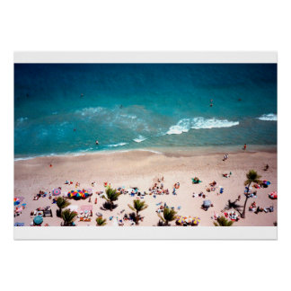 Fotografía aérea de la vista al mar de la playa póster