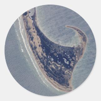 Fotografía aérea de Provincetown Pegatina Redonda