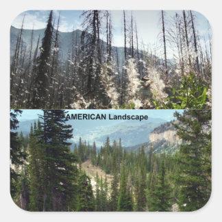 Fotografía americana del paisaje pegatina cuadrada