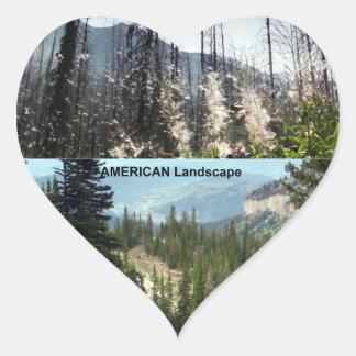 Fotografía americana del paisaje pegatina en forma de corazón