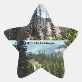Fotografía americana del paisaje pegatina en forma de estrella