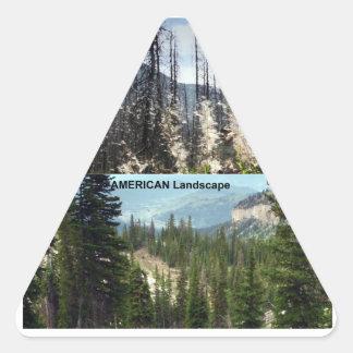 Fotografía americana del paisaje pegatina triangular